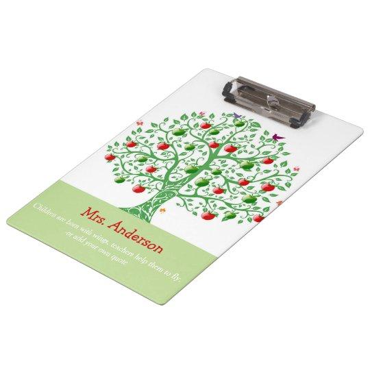 Apple Tree Custom Personalised Teacher Gift Clipboard