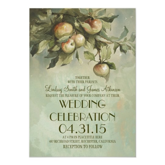 Apple tree rustic wedding invitations
