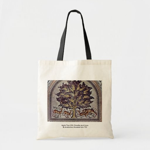 Apple Tree With Gazelles And Lions Tote Bags