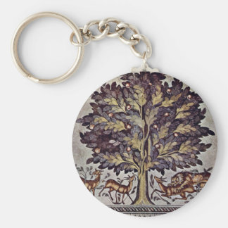 Apple Tree With Gazelles And Lions Basic Round Button Key Ring