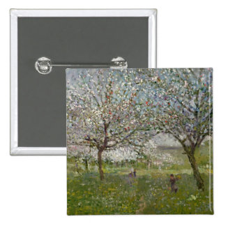Apple Trees in Flower 15 Cm Square Badge