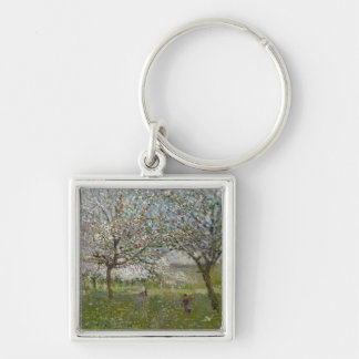 Apple Trees in Flower Silver-Colored Square Key Ring