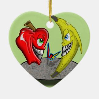 Apple Versus Banana Battle Humor Ceramic Heart Decoration