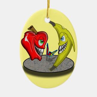 Apple Versus Banana Battle Humor Ceramic Oval Decoration