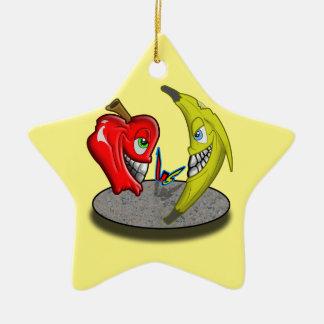 Apple Versus Banana Battle Humor Ceramic Star Decoration