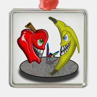 Apple Versus Banana Battle Humor Silver-Colored Square Decoration