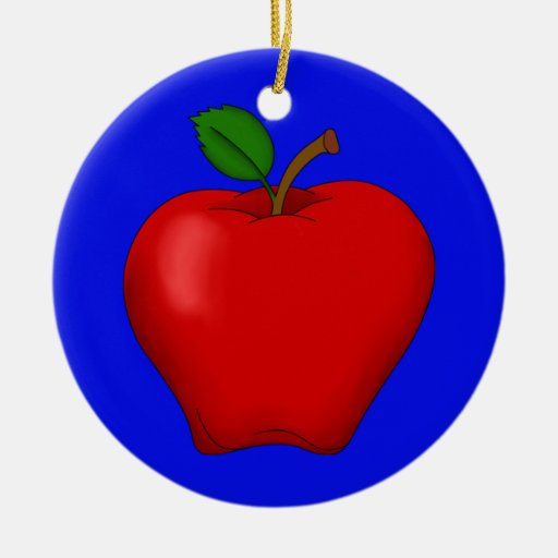 Apple with Blue Background Ornament
