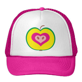 Apple with love heart mesh hat