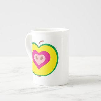 Apple with Love Heart Mug Bone China Mug