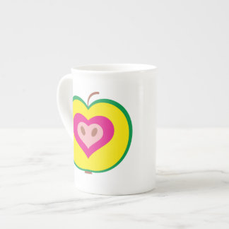 Apple with Love Heart Mug Bone China Mugs