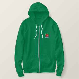 Apple with Worm Embroidered Hoodie