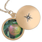 """APPLE, """"YOU ARE THE APPLE OF MY EYE"""" GOLD PLATED NECKLACE"""