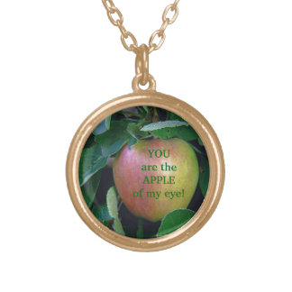 """APPLE, """"YOU ARE THE APPLE OF MY EYE"""" CUSTOM NECKLACE"""