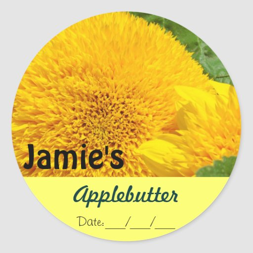 Applebutter Canning Jams Jar Labels Sunflowers Round Stickers