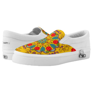 Apples and Floral ~ Slip On Sneakers