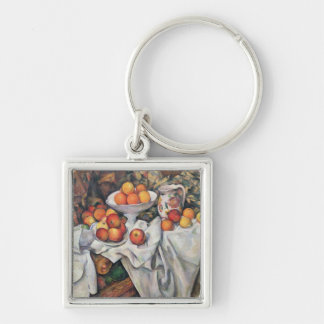Apples and Oranges, 1895-1900 Silver-Colored Square Key Ring