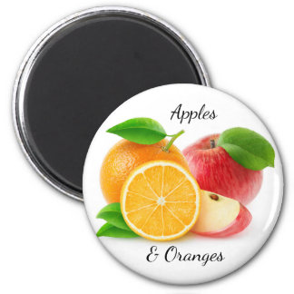 Apples and oranges 6 cm round magnet