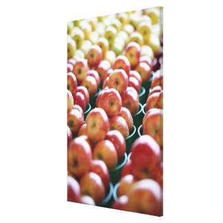 Apples at a market stall canvas print