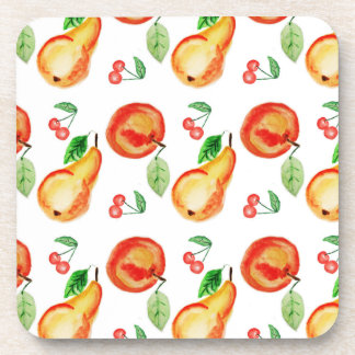 Apples, cherries and pears watercolor design coaster