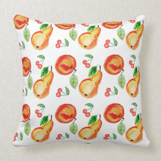 Apples, cherries and pears watercolor design cushion