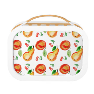 Apples, cherries and pears watercolor design lunch box