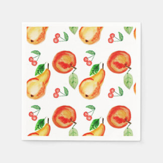 Apples, cherries and pears watercolor design paper napkin