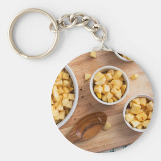 Apples in Baking Dishes Basic Round Button Key Ring