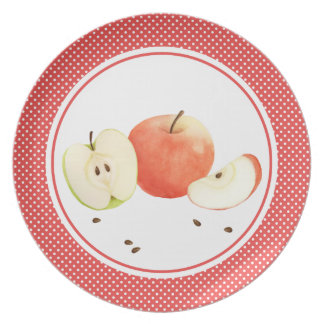 Apples in watercolor with polka dots plate