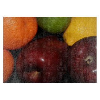 Apples, Oranges, Lemons Glass Cutting Board