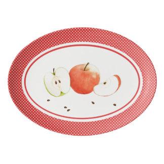 Apples & Polka Dots  Porcelain Coupe Platter