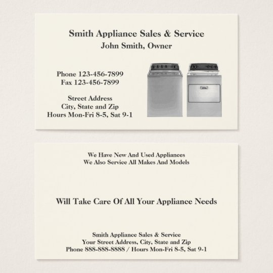 Appliance Sales and Repair Service Business Card