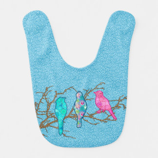 Applique Birds on a Branch, Sky Blue Multi Bib