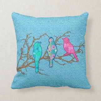 Applique Birds on a Branch, Sky Blue Multi Throw Pillow