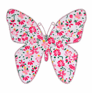 Applique fabric butterfly floral pink standing photo sculpture