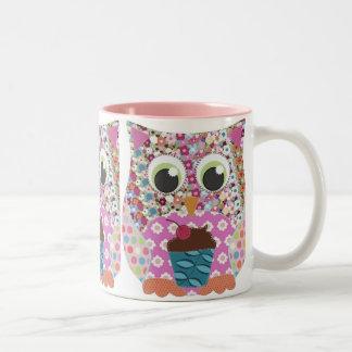 Appliqué Patch Pink Owl Two-Tone Mug