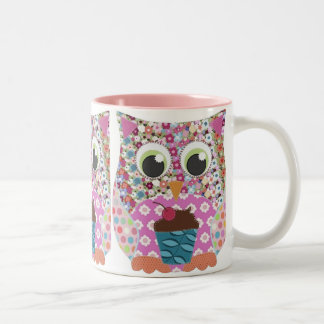 Appliqué Patch Pink Owl Two-Tone Coffee Mug
