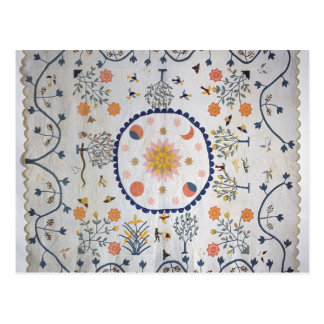 Applique quilt with Sun, Moon, Stars Postcard