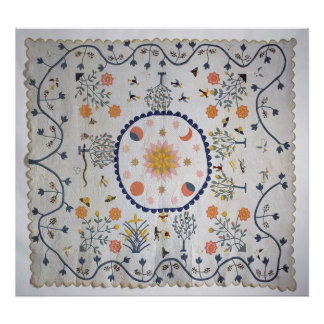 Applique quilt with Sun, Moon, Stars Print