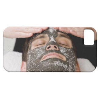 Applying skincare face mask with salt barely there iPhone 5 case