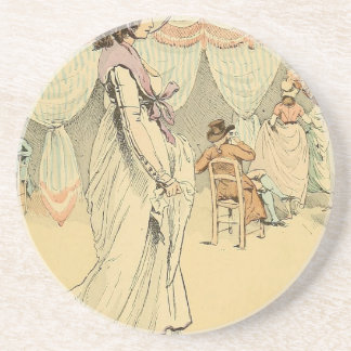 Appointment at the cafe de Tuileries 1898 Sandstone Coaster