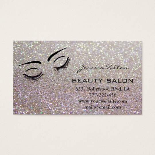 Appointment card elegant glittery eyelashes