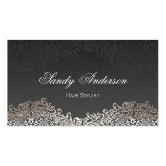 Appointment Card - Elegant Vintage Silver Damask Pack Of Standard Business Cards