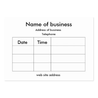 Appointment card pack of chubby business cards