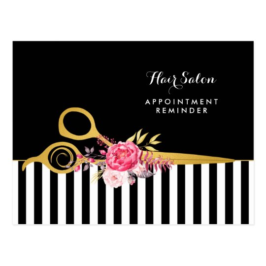 Appointment Faux Gold Scissors Pink Floral Salon Postcard