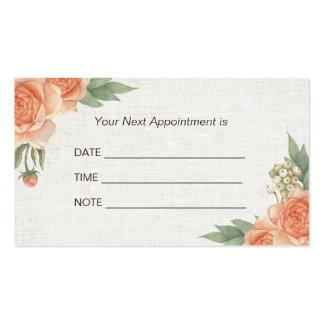 Appointment Reminder Vintage Floral Elegant Linen Pack Of Standard Business Cards