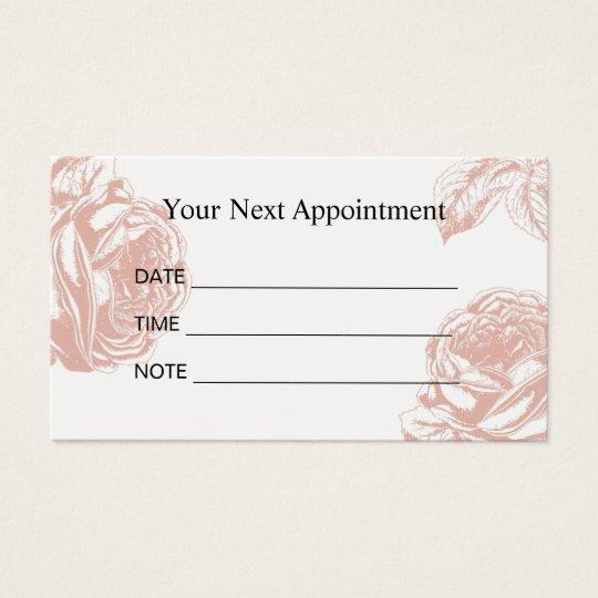 Appointment Reminder Vintage Rose Floral Salon Business Card