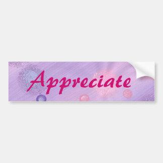Appreciate, pink lavender bubbles bumper stickers
