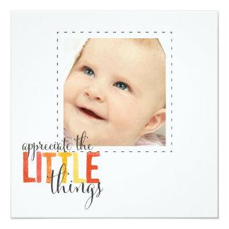 """appreciate the little things""  square photo cards 13 cm x 13 cm square invitation card"
