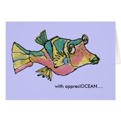 Appreciocean Rainbow Cartoon Fish Thank You Card Zazzle