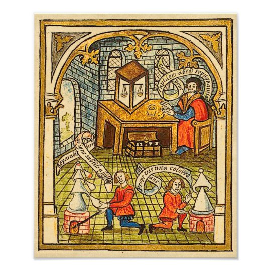 Apprentices in a Mediaeval Laboratory Photo Print